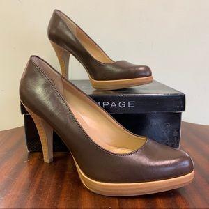 Rampage Giovanna Brown Leather Platform Heels 7.5